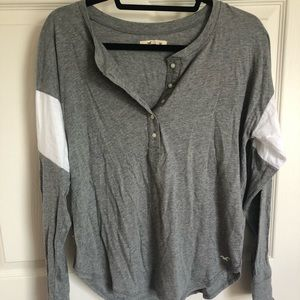 Hollister Women's Grey Henley (worn once)